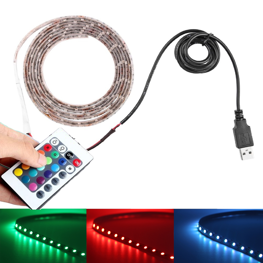 USB Cable LED Strip Light RGB Waterproof ip65/non 5050 SMD 5v Colour Changing TV PC PS4 Background lights+ Remote Controller(China (Mainland))