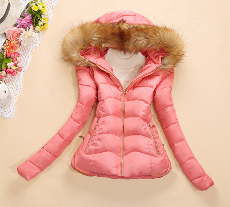S-2XL Women Winter Jacket Thin Fur Collar With Hooded Short Design Wadded Jackets And Coats Cotton-Padded 2015 New DY419