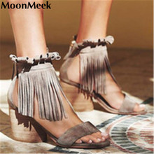 2016 newest high quality genuine leather shoes thick high heels women sandals retro sexy casual dress shoes