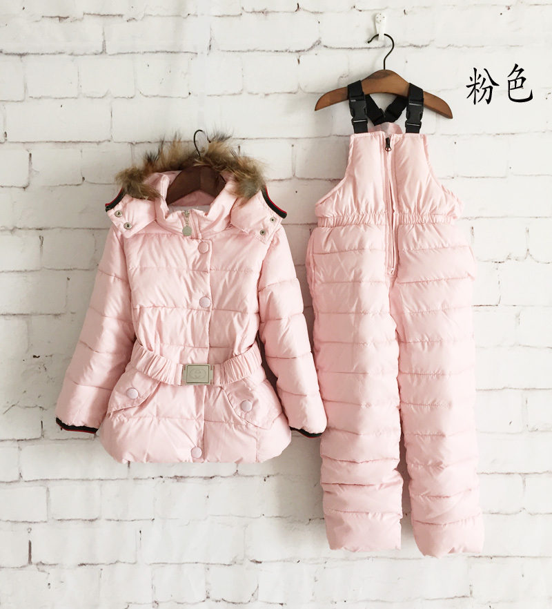 Children Winter Clothing Set kids Ski Suit Windproof Down Coat Solid Warm Coats Fur Jackets+Bib Pants 5 Colors 2pcs/set(China (Mainland))