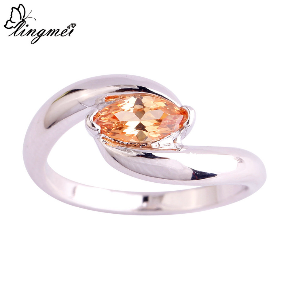 lingmei Wholesale Fashion Jewelry Marquise Cut Morganite Silver Ring Size 6 7