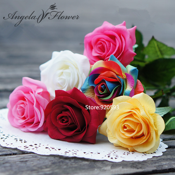 Real Touch rose PU Artificial silk wedding bouquet Flowers , Home decorations Wedding Party Birthday - Angela tan's store