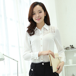 Spring Autumn New Fashion Women Long Sleeve Lace Chiffon Shirt Formal Shirt Lady Blouse Tops