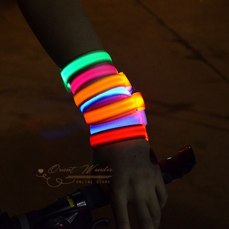Hot Sale Glowing Bracelet LED lights Flash Wrist Ring Nocturnal Warnings Ring Running Gear Glowing Armband 6pcs/lot(China (Mainland))