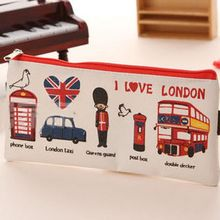 LONDON Style Canvas Pen Pencil Case Cosmetic Makeup Pouch Purse Coin Zipper Bag
