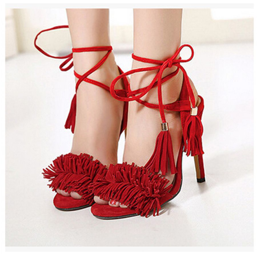 SD119 4 Colors Pop Stars Same Design Latest 2016 Sexy Tassel Women Sandals High Heels Lady Casual Lace-Up Party Shoes <br><br>Aliexpress