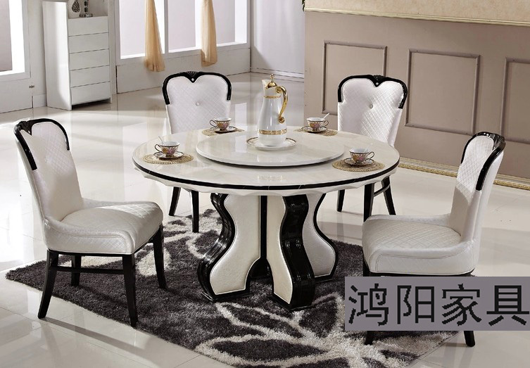 Marble Dining Table Round Table Turntable Solid Wood Dining Table