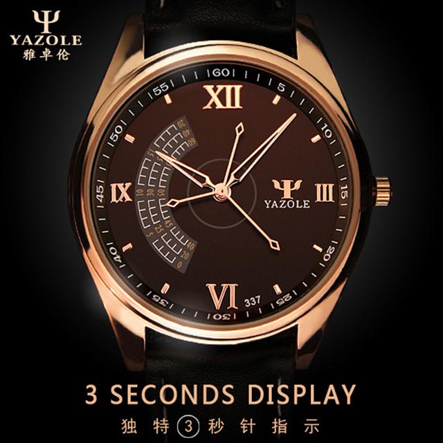 2016 новый Yazole кварцевые часы мужские часы лучший бренд класса люкс известный 3 секунд свободного покроя мода световой часы Relogio Masculino