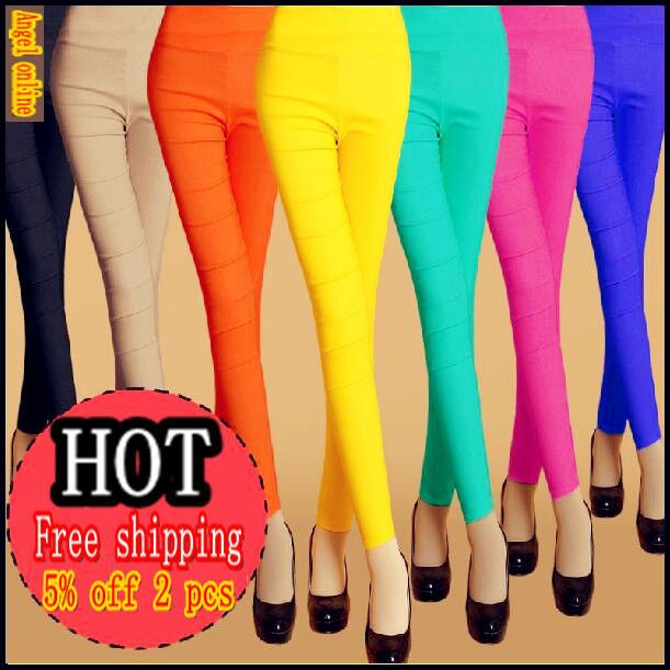 2015 Summer Style Candy Color Pants For Women High Waist Elastic ...