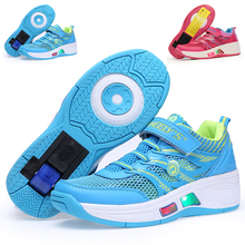 Children Roller Skates Ice Skate Boy & Girl Automatic One Wheel Shoes Kids With Lights Flash Sneakers Breathable Child Heelys(China (Mainland))
