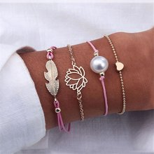 4 Pcs/ Set Classic Arrow Knot Round Crystal Multilayer Adjustable Open Bracelet Set Women Fashion Party Jewelry Multiple Styles(China)