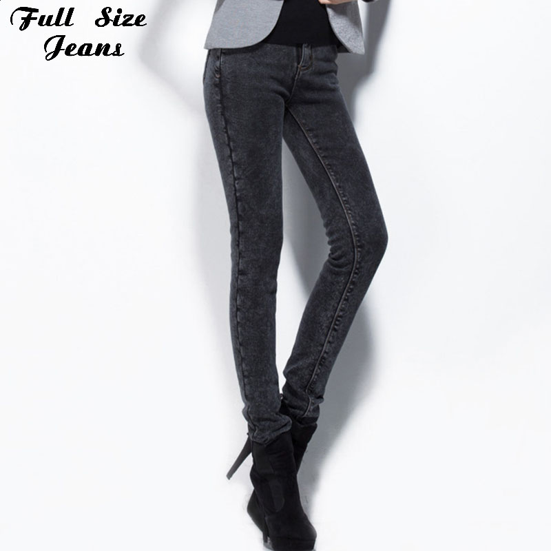 """Winter Warm Extra Long Black Fleece Pencil Jeans For Tall Girl 34"""" Inseam High Waist Skinny Pants Over Length Leggings 4XL 2XL S(China (Mainland))"""