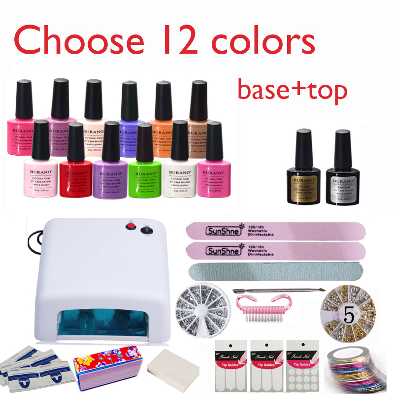 New Arrival Soak-off Gel polish Top & Base Coat gel nails polish kit art tools kits sets manicure set choose 12colors(China (Mainland))