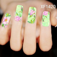 Water Transfer Nail Art Stickers Decal Elegant Pink Flowers China Painting Design DIY French Manicure Foils Stamping Tools