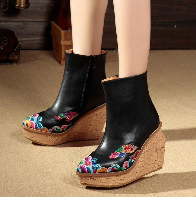 Fall Winter Ethnic Style Embroidery Retro Leather Wedges Thick Bottom Pointed Top High Heels Ankle Boots Short Boots Shoes Woman<br>