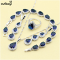 XUTAAYI Top Quality 925 Silver Jewelry Sets Blue Created Sapphired Flawless Necklace Rings Earrings Bracelet For