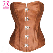 Corselet Overbust Plus Size Steel Boned Brown Leather Corset Steampunk Gothic Corsets And Bustiers Sexy Korsett For Women 6XL