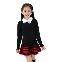 Baby Girls Blouses School Style Children Clothing Long Sleeve Girls Clothes Turn-Down Collar Girl Solid Shirts Autumn Child Tops(China (Mainland))