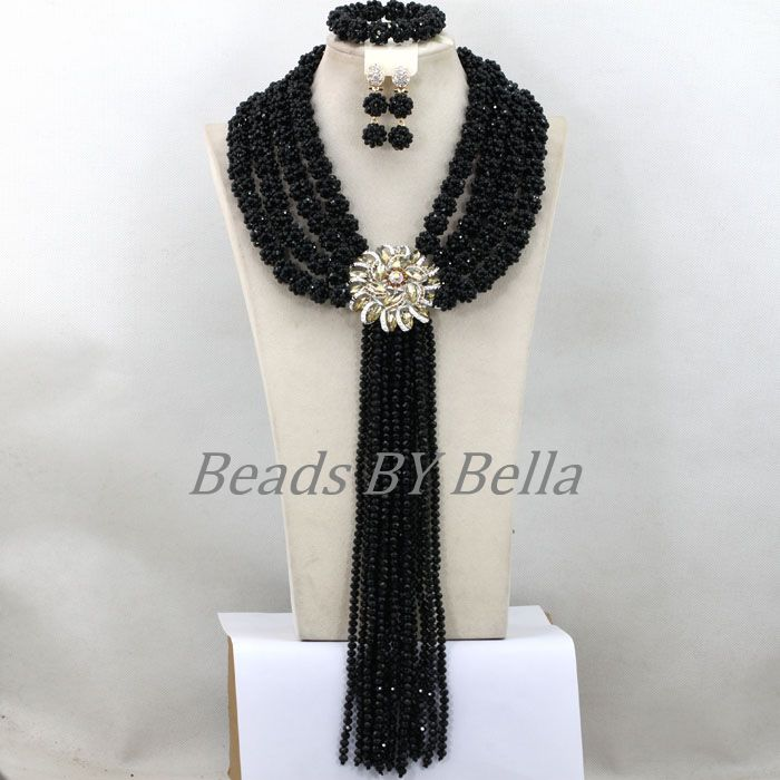 Luxury African Jewelry Set Statement Necklace Chunky Black Costume Nigerian Wedding Bridal Jewelry Sets Free Shipping ABK844<br><br>Aliexpress