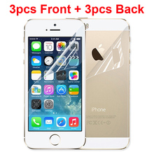 3pcs Front + 3pcs Back New LCD Clear Glossy Anti Glare HD Mobile Phone Screen Protector For iphone 5 5s 5c Protective Film