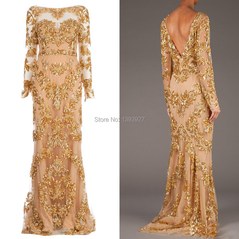 2014 Real Picture Long Sleeve Backles Trailing Gold Appliques Formal Winter Dress Gowns Zuhair