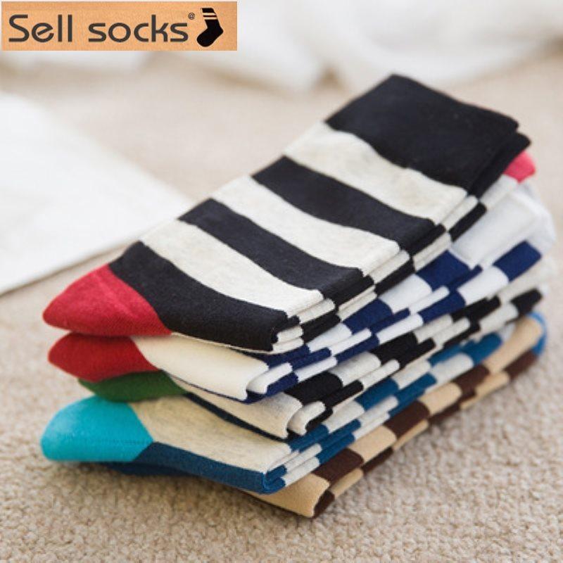2015 new autumn winter socks Korea men's sock cotton man fashion high quality wave 5pairs/lot freeshipping size39-44(China (Mainland))