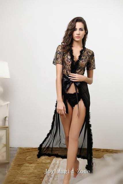 Бесплатная доставка L387 Новых прибытие sexy черный женщин халат, высокое качество ...