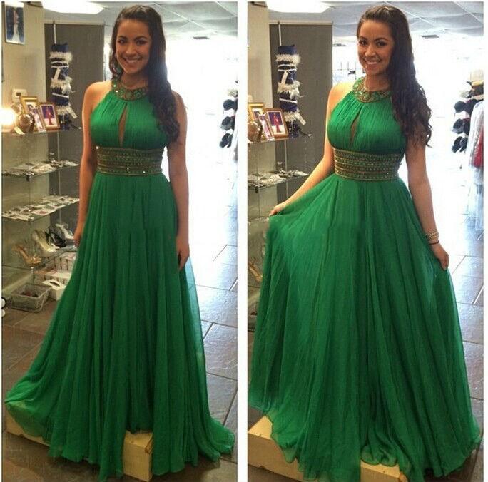 Sexy шифон длинные паффи изумрудно-зеленый пром платья 2017 vestido де феста лонго кристалл женщины вечерние платья партии