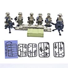 6pcs/lot Mountain Commando Military Machine Gun weapon Gatlin Army Minifigures Counter Strike building Blocks assembling toys(China (Mainland))