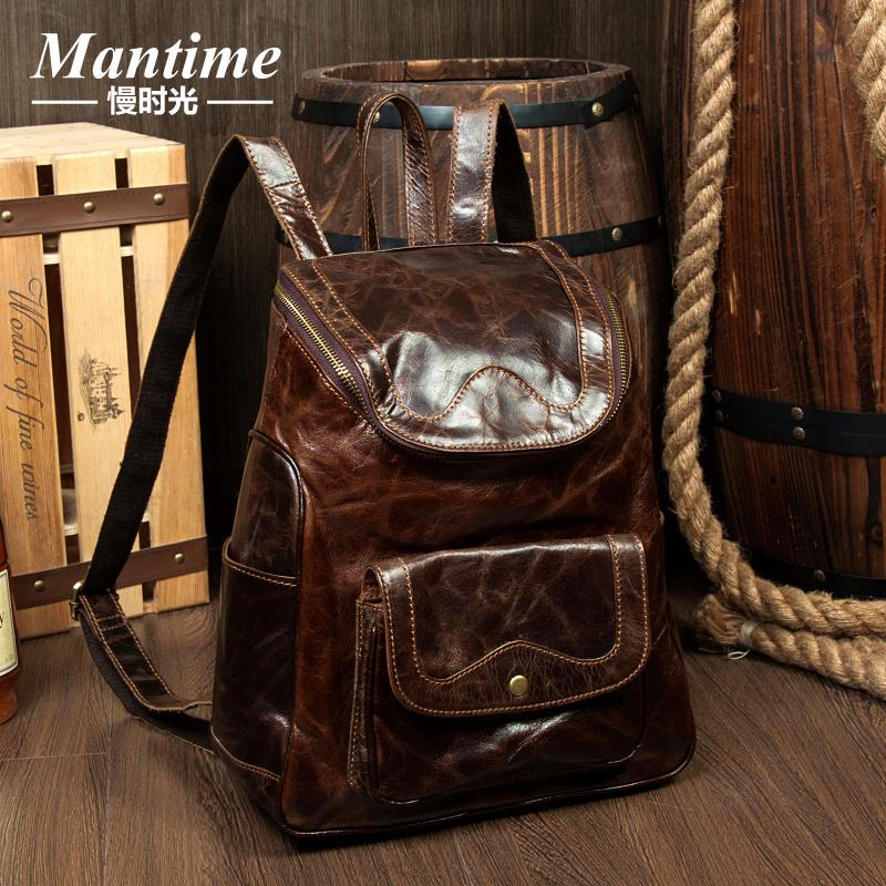 Men Backpack Genuine Leather Men Backpack Designers Brand Large Capacit Travel Utility Men Leather Bag Men Backpack Vintage(China (Mainland))