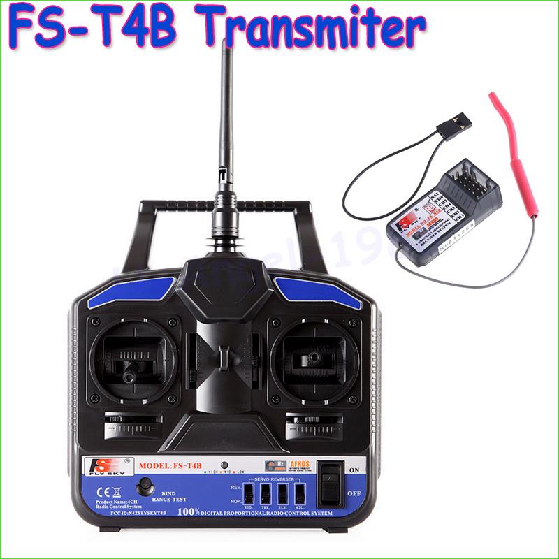 Wholesae 1pcs Original High Quality 2.4G Flysky FS-T4B 4CH Radio Model RC Transmitter & Receiver Heli/Airplane(China (Mainland))