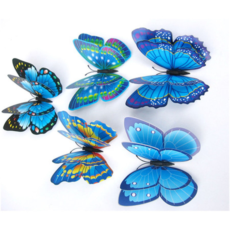 12x 3D Butterfly Wall Sticker Fridge Magnet double layer feather butterfly magnetic sticker refrigerator decor multicolors(China (Mainland))