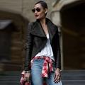 2016 Fashion Motorcycle Jacket Slim Fit Asymmetric Slim Fit PU Leather Women Coat Full Sleeve Cardigan