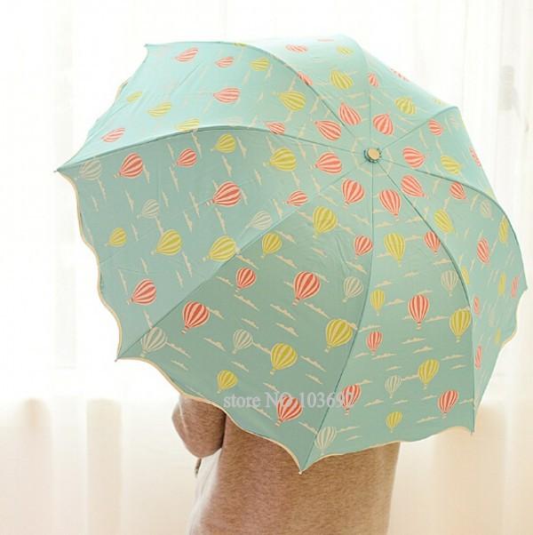 Cartoon hot balloon umbrella 3 folding umbrella rain women umbrella candy color fresh kids umbrella children sombrinha de chuva(China (Mainland))