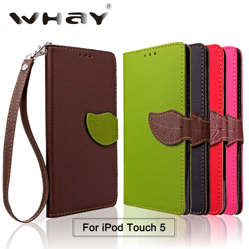 Korea Leaves Wallet leather Case For iPod Touch 5 Phone Bag Cover for iPod iTouch 5 Case With Stand Card Holder Bag(China (Mainland))