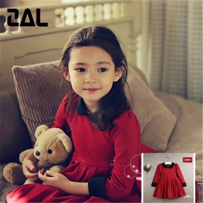 2015 New Arrival Cotton Children's Clothing for Girls Fold European Style Red Girls Bubble Dressess vestidos 18A(China (Mainland))