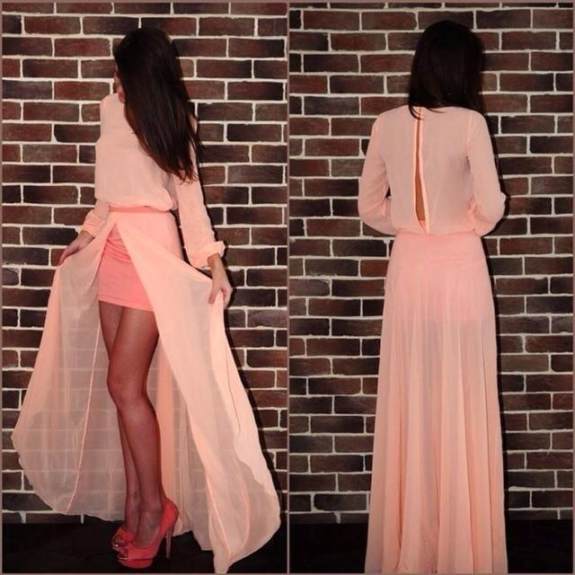 product 2015 summer sexy and elegant solid color style Long Sleeve informal income Chiffon dress to the floor AS181