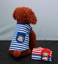 Pocket spring and summer stripe dog clothes XS/ S/ M/ L,/XL warm and comfortable cotton pet jumpsuit, red, blue(China (Mainland))