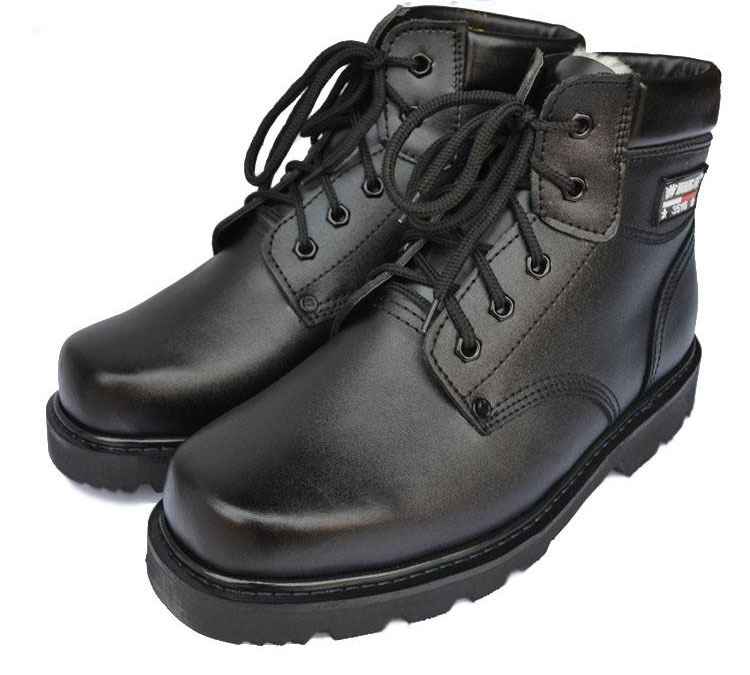 Фотография winter men genuine leather red bottom shoes black military army tactical boots large size cold-proof thermal snow botas N007