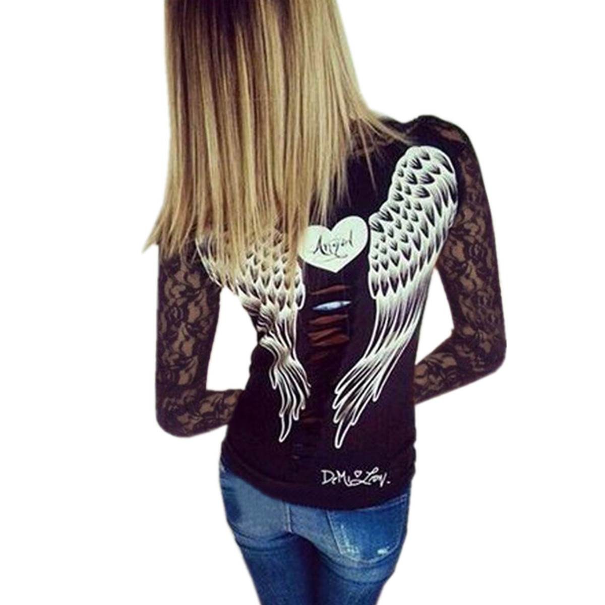 New 2016 Fashion Angel Wings Print T Shirt Women Long Sleeve Sexy Lace Crochet Hollow Out Tops Tee Casual Slim Plus Size Blusas(China (Mainland))