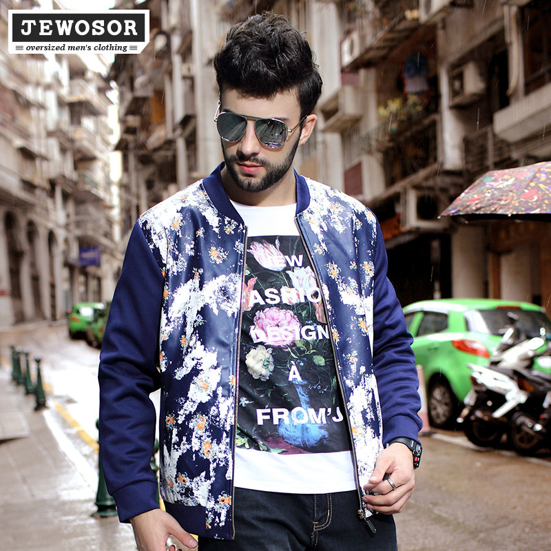 New Style 6xl Plus Size Mens Jacket Fall And Winter Clothes Man Fashion Zipper Clothing Cotton And PU Patchwork Floral PrintedОдежда и ак�е��уары<br><br><br>Aliexpress