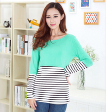 2426# long-sleeve fashion striped modal maternity nursing clothing autumn breast feeding tops clothes for pregnant women(China (Mainland))