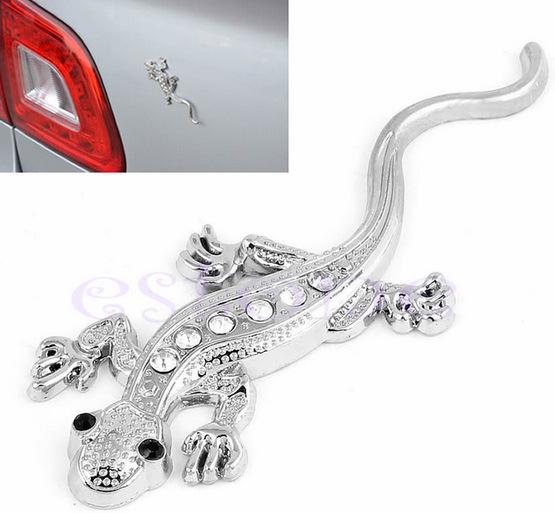 3D Gecko Shape Chrome Badge Emblem Decal Car Sticker Silver Golden