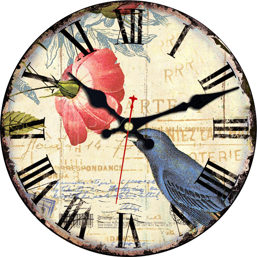 Birds Design Flower Wall Clock Cheap Relogio De Parede Large Silent For Living Room Saat Home Decoration Watch Wall Welcome Gift(China (Mainland))