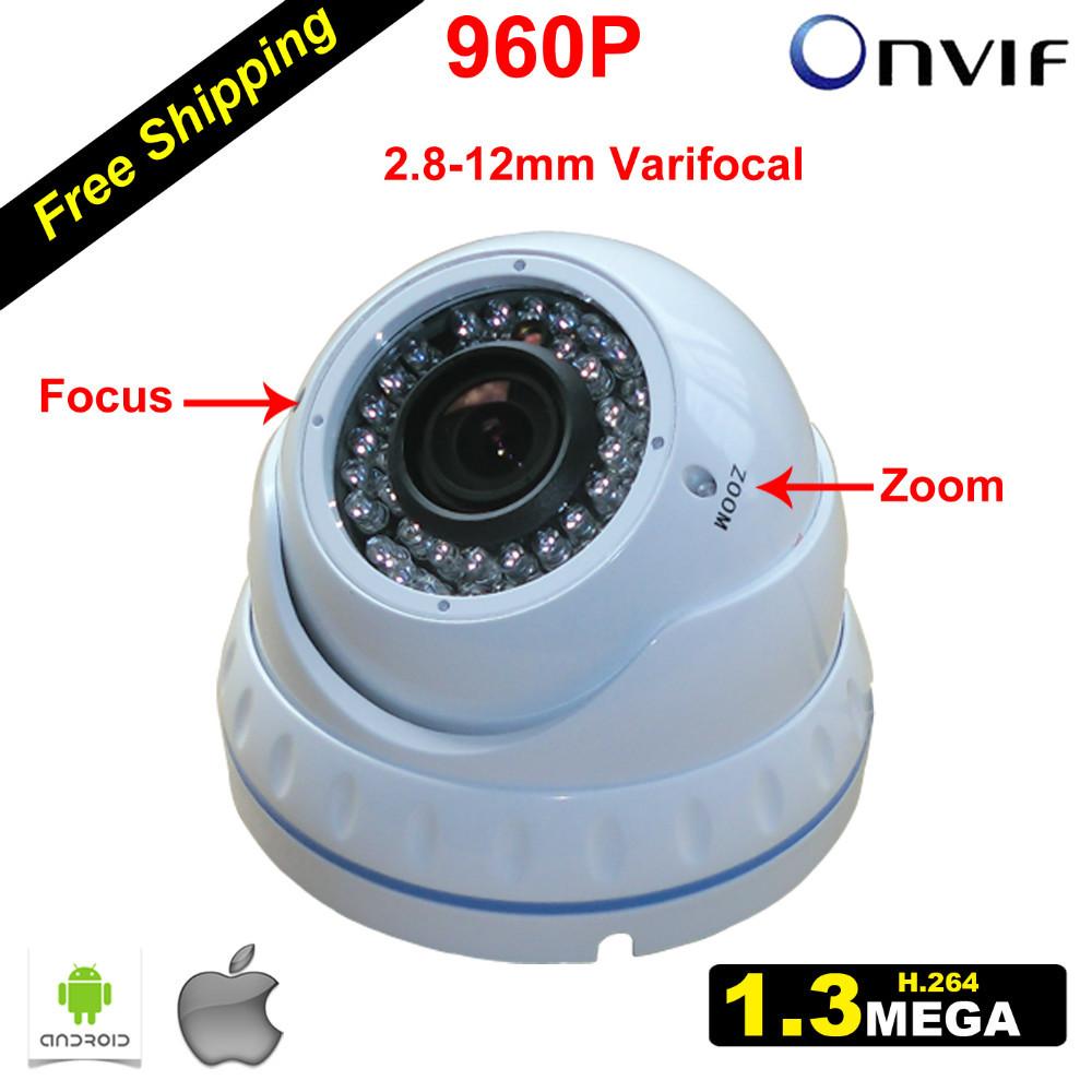 Onvif 960P 1.3MP CCTV IP Camara Dome with 2.8-12mm Varifocal Lens Security & Surveillance Camera Video Systems Weatherproof(China (Mainland))