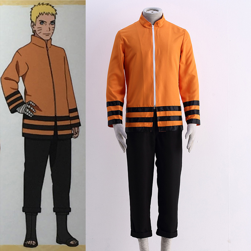 Man Cosplay Clothing Anime Naruto Cosplay The Last Shippuden Uzumaki Naruto Costume Orange Coat Three-Quarter Pant Suit For Man(China (Mainland))