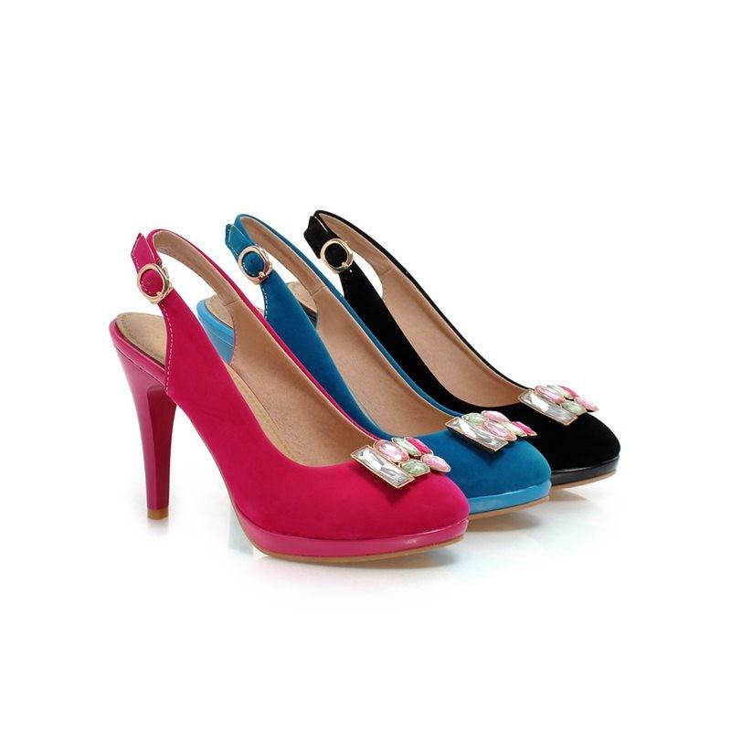 ซื้อ พลัสSize34-43 2016ผู้หญิงรองเท้าหนังปั๊มรอบนิ้วเท้าRhinestoneปั๊มออกแบบหญิงแข็งรองเท้าส้นสูงรองเท้าเดียวPS694