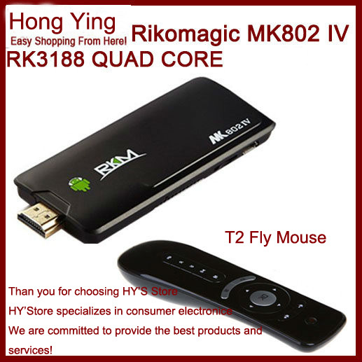 Original MK802 IV Rikomagic MK802IV Android 4.2.2 RK3188 Quad Core Mini PC TV BOX stick 1.8GHz 2GB RAM 8GB ROM + T2 fly mouse(China (Mainland))
