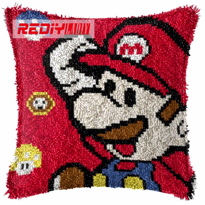 BZ093  REDIY LADIY Latch Hook Cushion Yarn for Cushion Cover Red Marie Pillow Case Sofa Cushion Printed Canvas Home Decorative Pillow