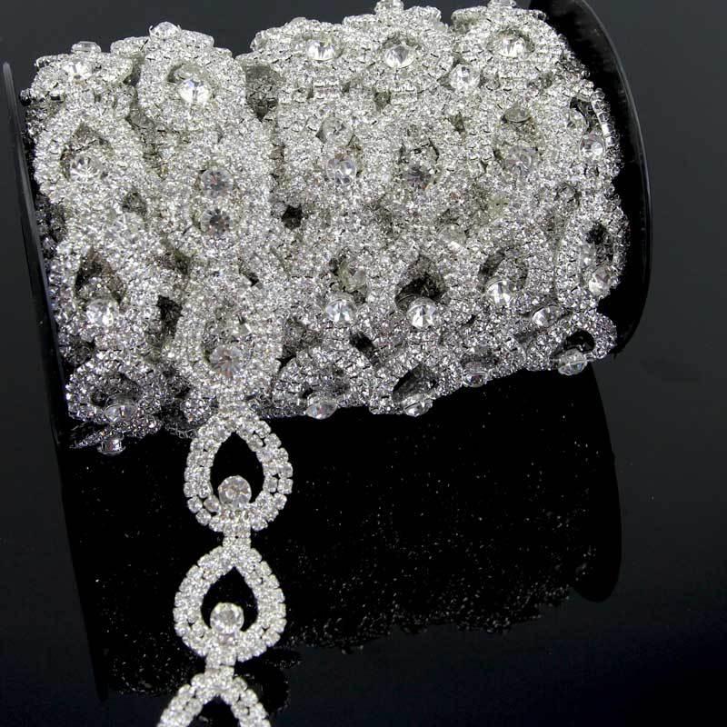 1 yard Sparkling Clear Crystal Rhinestone Chain Link Mesh Glass Silver Couture wedding trims R2242Y01(China (Mainland))